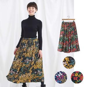 花柄 小花柄 ロングスカート フレアスカート かわいい 秋冬|vacationclub