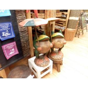 かえる 置物 木彫り 玄関 傘差し 大サイズ 木像 インテリア アンティーク 店舗|vacationclub