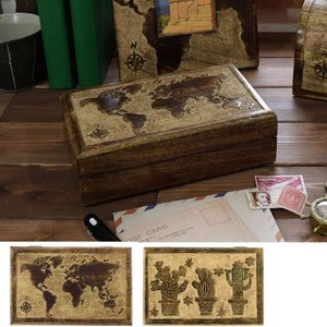サボテン 地図 木彫 木製 アンティークボックス 小物入れ アクセサリーケース アンティーク|vacationclub