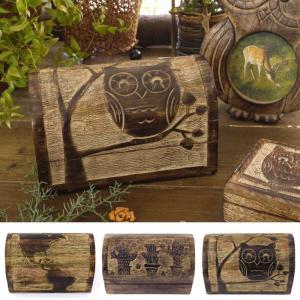 ふくろう 木彫 木製 宝箱 トレジャーボックス 小物入れ アクセサリーケース アンティーク|vacationclub