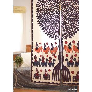 のれん 生命の樹 オーガンジー アップリケ リゾート オリエンタル アジアン雑貨 サロン 装飾|vacationclub