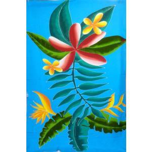 パレオ 大判 ブルー 手描き タヒチアンダンス 手染め バリ バティック レーヨン タヒチアン  ハワイアン vacationclub