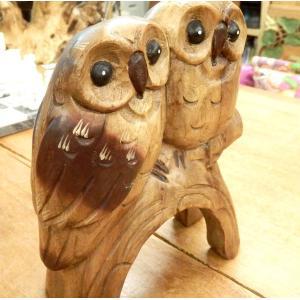 ふくろう 置物 木彫り つがい 夫婦 フクロウ 木像 インテリア アンティーク 店舗 vacationclub 02