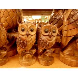 ふくろう 置物 木彫り フクロウ 木像 インテリア アンティーク 店舗|vacationclub