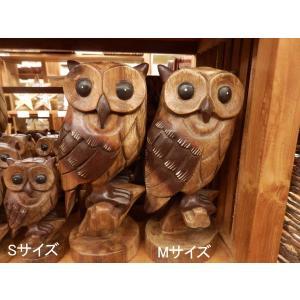 ふくろう 置物 木彫り フクロウ Mサイズ木像 インテリア アンティーク 店舗|vacationclub