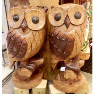 ふくろう 置物 木彫り フクロウ LLサイズ木像 インテリア アンティーク 店舗|vacationclub