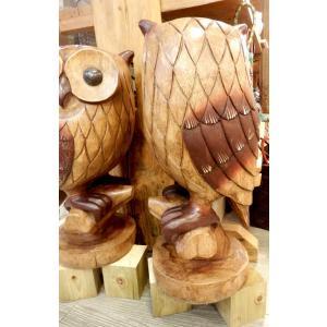 ふくろう 置物 木彫り フクロウ LLサイズ木像 インテリア アンティーク 店舗 vacationclub 04