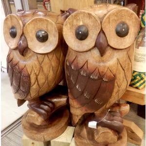 ふくろう 置物 木彫り フクロウ LLサイズ木像 インテリア アンティーク 店舗 vacationclub 05