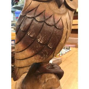 ふくろう 置物 木彫り フクロウ LLサイズ木像 インテリア アンティーク 店舗 vacationclub 09