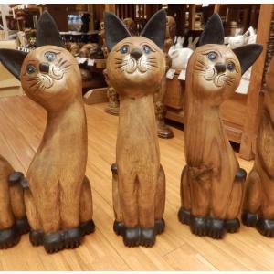 木彫り猫 ネコ 置物 木彫り ねこ Mサイズ木像 インテリア アンティーク 店舗