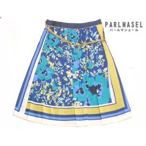 サーキュラースカート Parlmasel プリーツスカート フラワー ブルー 日本製|vacationclub