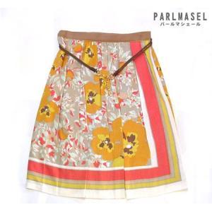 サーキュラー Parlmasel プリーツスカート フラワー カーキ 細 ベルト 付き サーキュラースカート 日本製|vacationclub