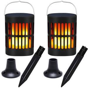 ソーラートーチ 卓上 ランタンタイプ 屋外防水 センサー自動点灯 LEDの炎がゆらめく たいまつ キ...