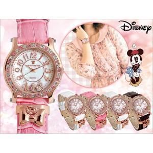 Disney ディズニー ミニーリボン チャーム 腕時計 (全5色) 本牛革ベルト スワロフスキー (プレゼントに最適) value-club