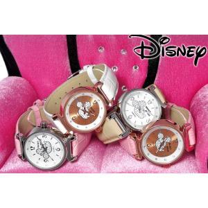 【驚愕の大特価!!】Disney ディズニー グリッター ミッキー シルエット 腕時計 本牛革ベルト スワロフスキー使用 (全4色) value-club