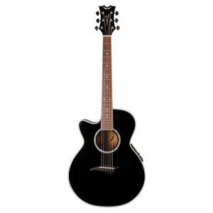 Dean ディーン Performer Mini Jumbo Acoustic-Electric Left Handed Guitar, Classic Black アコーステ|value-select
