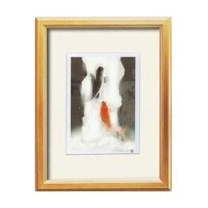 14791 吉岡浩太郎「開運」風水額(太子) 「夫婦滝昇り鯉」 金 value