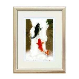 14821 吉岡浩太郎「開運」風水額(大衣) 「夫婦滝昇り鯉」 銀|value