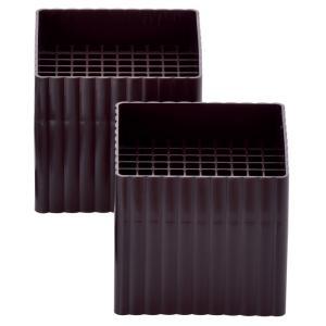ハイヒールプラス S(スクエア) チョコレートブラウン 2個組(916050) /テーブル ベッド こたつ 高さ調整 継ぎ脚/|value|02