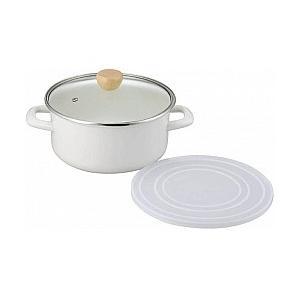 ホーロー鍋 プレコレ ホーロー両手鍋 20cm 保存用蓋付 PC-704(KKS-112450)/琺瑯/|value