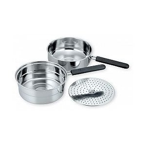 蒸し器 アクチュアル 片手ミニ蒸し兼用ダブルパン18cm AC-06(152580) /ステンレス 鍋 IH対応/|value