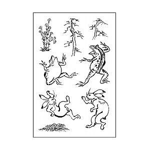 すたんぷえんオリジナルクリアスタンプセット・鳥獣戯画すたんだぁど socl0124-001 /ウサギ カエル/