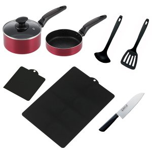 料理道具セット 一人暮らし 料理道具 8点セット/調理器具 鍋 フライパン 包丁 まな板/ value 02