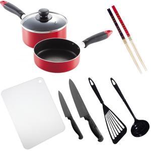 料理道具セット 一人暮らし 料理道具 10点セット (チタンコーティング包丁)/調理器具 鍋 フライパン まな板/|value