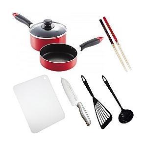 料理道具セット 一人暮らし 料理道具 9点セット/調理器具 鍋 フライパン 包丁 まな板/|value
