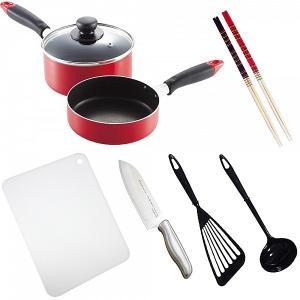 料理道具セット 一人暮らし 料理道具 9点セット/調理器具 鍋 フライパン 包丁 まな板/|value|02