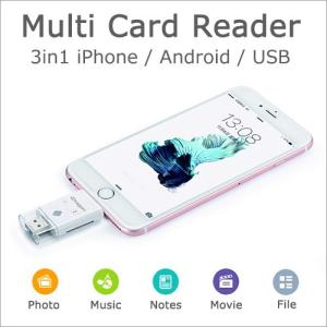 スマホカードリーダー Multi Card Reader スマートフォン対応 タブレット パソコン ...