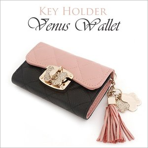 キーケース レディース Venus Leather Key Holder タッセル かわいい おしゃれ ツートンカラー 牛革 本革 紙幣収納 キーホルダー 女性 プレゼント 宅急便|vaniastore