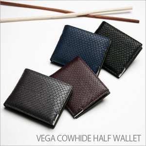 メンズ財布 二つ折り Vega Half Wallet OMNIA 本革 牛革 ワニ革風 イタリアンレザー カード入れ 名刺入れ 高級感 男性 プレゼント 宅配便|vaniastore