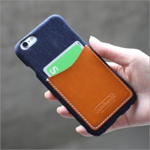 【OUTLET】iPhone6s / 6 スマホケース アイフォン カード収納 HANSMARE LEATHER POCKET CASE iphone6 / 6s カード入れ ファブリックパターンに革  ネコポス vaniastore
