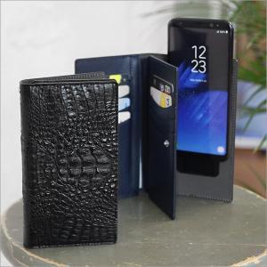 マルチケース スマホケース Crocodile Double Flip Case ワニ風 多機種対応 お財布 カード入れ 本革 90 x 165 x 23mm iPhone Xperia Galaxy 宅配便|vaniastore