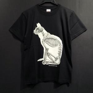 骨格Tシャツ/座り猫(黒猫)|vanilla-gallery
