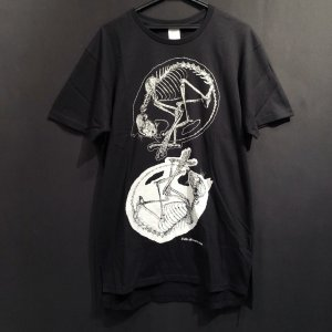 骨格Tシャツ/W丸まり猫(メンズ)|vanilla-gallery