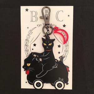 銀鉤舎 黒猫コロコロ アクリルキーホルダー|vanilla-gallery