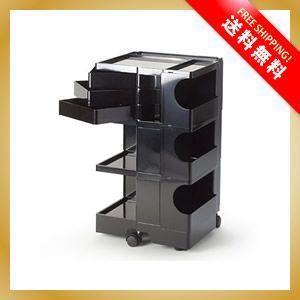 ボビーワゴン 黒 3段3トレイ ブラック ミッドセンチュリー デザイナーズワゴン|vanilladesign