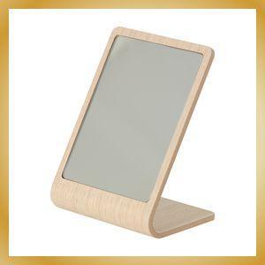 卓上ミラー プライウッド 鏡 カフェ風 北欧 ホワイトオーク柄|vanilladesign