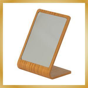 卓上ミラー プライウッド 鏡 カフェ風 北欧 チーク柄|vanilladesign
