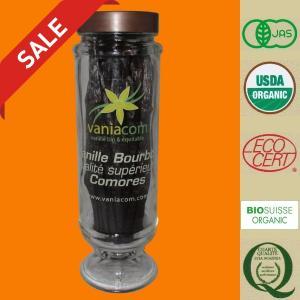 オーガニック バニラビーンズ(コモロ産)『バニラブルボン』200g入瓶-B|vanillashop