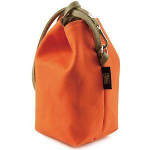 阿呆 巾着 / 8号帆布 /Mサイズ( オレンジ × カーキ グレー ) < 帆布 収納 手提げ ポーチ 小物入れ サブバッグ >|vannuyswebshop