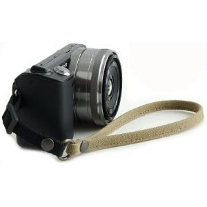 片手で持ちやすく操作しやすい帆布のカメラ用ハンドストラップ(取り付けベルト部分:幅10mm)(8号帆布製/カラー:カーキグレー)|vannuyswebshop