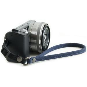 片手で持ちやすく操作しやすい帆布のカメラ用ハンドストラップ(取り付けベルト部分:幅10mm)(8号帆布製/カラー:ネイビー)|vannuyswebshop