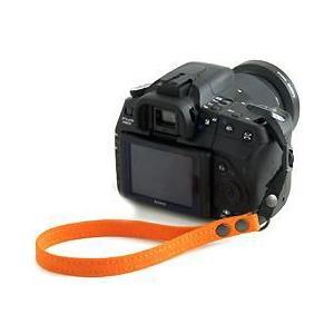 片手で持ちやすく操作しやすい帆布のカメラ用ハンドストラップ/フラットタイプ(取り付けベルト部分:幅10mm)(8号帆布製/カラー:オレンジ)|vannuyswebshop
