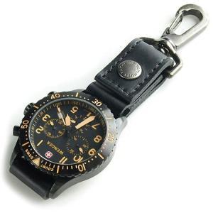 ベルトに付けたりバッグに吊るせる ぬめ革の時計ホルダー/Type-A (牛ぬめ革製/ブラック)< 牛...