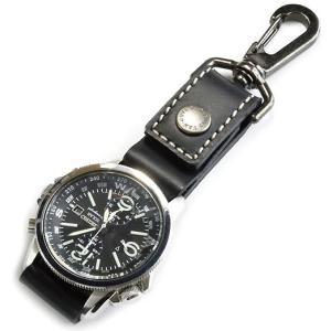 ベルトに付けたり バッグに吊るせる ぬめ革の時計ホルダー/Type-A (牛ぬめ革製/ブラック) (...