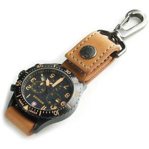 ベルトに付けたりバッグに吊るせる ぬめ革の時計ホルダー/Type-A (牛ぬめ革製/キャメル)< 牛...