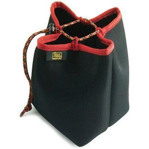 デジタル機器をバッグの中で保護し開閉しやすいクロス 巾着  (ブラック×レッド)< カメラ デジカメ 保護 ケース > vannuyswebshop